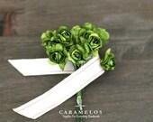36 Miniature Green Millinery Vintage Styel Paper Roses Flowers