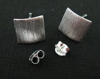 Earring Findings, Earring Hooks, 925 Sterling Silver Earring Posts, Texture Square Earwire -Fancy Earwire(2pcs - 1 pair) - SKU: 203033