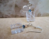 Cube Crystal Quartz Earrings with Swarovski Elements Crystals