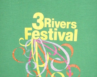 Vintage 80s Green Soft Thin T-shirt S Fort Wayne 3 Rivers Festival
