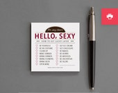 "Funny, Cheap Naughty Printable Sticky Notes. Love, Anniverary, Valentine's. For Boyfriend, Girlfriend, Husband, Wife. ""Hello Sexy"" (PNL04)"