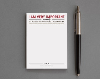 "Funny, Humorous Office Supplies, Desk Accessories. Sticky Notes Notepad. Sarcastic, Snarky, Alternative. Men, Women. ""Important"" (NSN-X007)"