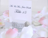 Place Card Holder +  White Place Card Holders trimmed with a crystal wrap (Set of 150)