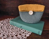 purse ~ crochet pouch ~ mustard and teal