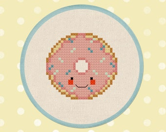 Pink Frosted Donut with Sprinkles.  Doughnut Cross Stitch Pattern. PDF File