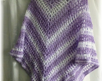 Clearance Shawl Triangle Wrap Crochet Soft Lavender Purples and White Shimmer