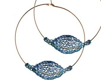 Gold Hoop earrings BLUE crochet beads hoop earrings, BOHO gypsy hoops, Unique hoop earrings, Wire Crochet jewelry - Gypsy bohemian fashion