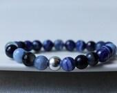 Nautical Navy Agate Bracelet and Sterling Silver / Navy Blue Stone Stretch Bracelet  / Bohemian Summer Bracelet / Wrist Candy for Summer