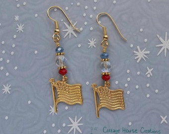 American Flag Patriotic Beaded Jewelry Making Gold Earring Kit with Instructions