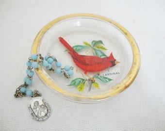 vintage cardinal red bird glass coaster