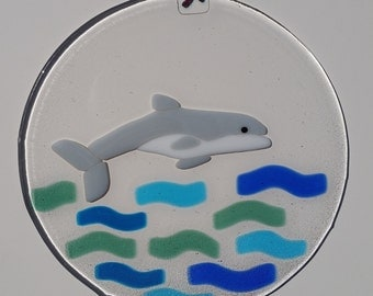 Dolphin Suncatcher or Wall Hanging Fused Glass