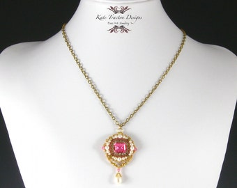 Anna Pendant Necklace, Pink, Gold