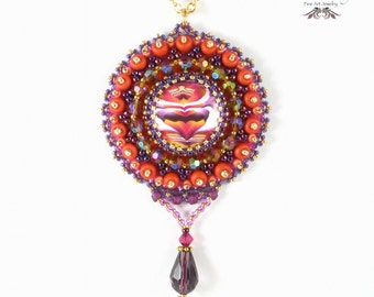 Purple Medallion Necklace, Pendant, Polymer Clay, Bead Embroidery