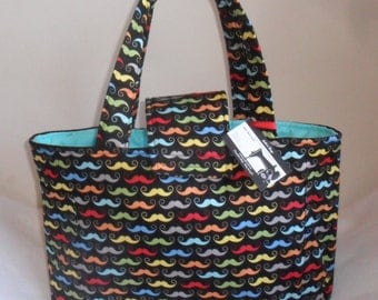 Large Riley Blake Geekly Chic Multicolor Mustache Diaper Bag Tote w/Upgraded Interior
