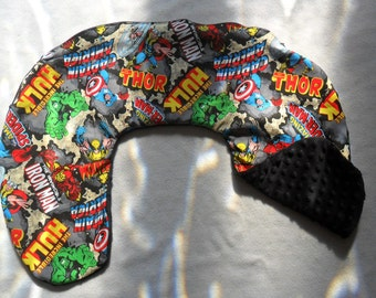 Marvel Retro Comic Blast and Black Minky Dot Nursing Pillow Cover Fits Boppy CHOICE OF MINKY