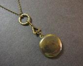 Geometric Locket Necklace, Triangle Necklace, Keepsake, Round Locket, Vintage Inspired, Textured, Antique Brass, Patina, Photo Locket