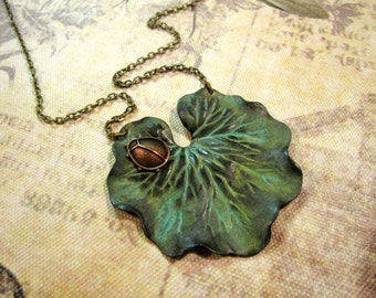 Ladybug Necklace, Woodland Necklace, Nature Inspired, Leaf Necklace, Bold Verdigris Leaf, Bug, Insect, Summer Jewelry, Green Leaf, Statement