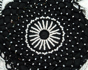 Beaded Black and White Zippered Coin Purse with Handle