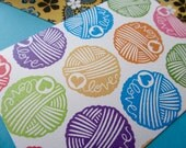 Small Ball of Yarn Love - Hand Carved Rubber Stamp