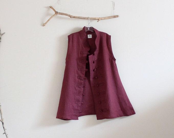 burgundy linen vest top size M / ready to wear / size M linen vest / women's clothing / linen vest / burgundy vest / lagenlook / long vest