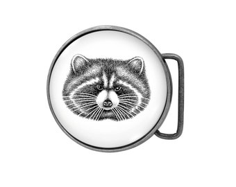Belt buckle Raccoon Antiqued Silver Gifts for him Gifts for her