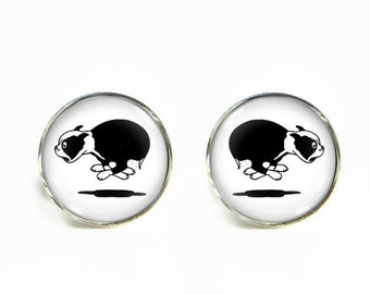 Boston Terrier small post stud earrings Stainless steel hypoallergenic 12mm Gifts for her