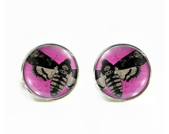 Death's Head Moth small post stud earrings Stainless steel hypoallergenic 12mm Gifts for her
