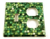 Combo Light Switch Cover Wall Decor Switchplate  Switch Plate in Green Tiles (198TOC)