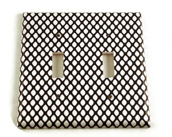 Double Light Switch Cover Wall Decor Black and White Switchplate Switch Plate in  Fishnet (087D)