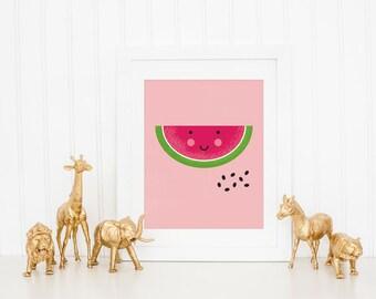 Cute watermelon nursery art print, kawaii artwork, watermelon art print, kids room, watermelon nursery art prints
