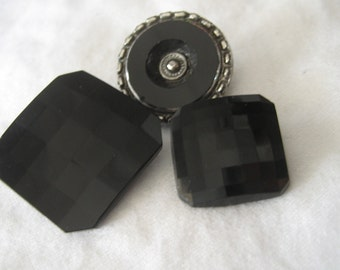 Lot of 3 VINTAGE Black Glass BUTTONS