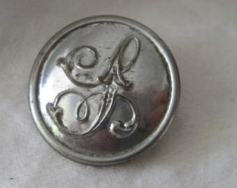 ANTIQUE Silver Metal Script Monogram Initial Uniform BUTTON