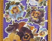 Victorian Scrap Paper Die Cut Pretty Pansy Flowers