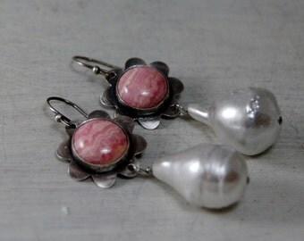 Pink Rhodochrosite Earrings Sterling Silver Chunky Freshwater Pearl Earrings