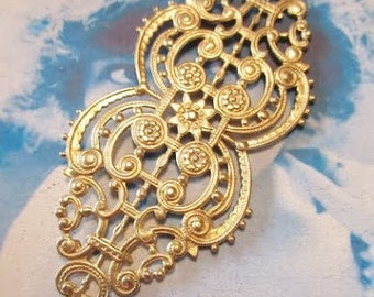 Raw Brass Art Deco Style Connector Filigree Stamping Bent or Straight 85RAW x1