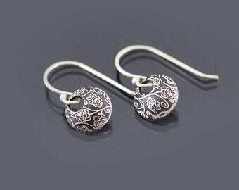 Tiny Silver Rose Garden Loop Earrings, sterling silver, dainty earrings, botanical earrings, minimalist jewelry
