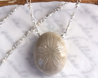 Fossil Urchin Necklace - Sea Urchin with Pearls in Solid Sterling Silver