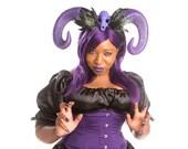 Ram Horn Headpiece-Ram Horns-Ram Horn Headband-Horn Headpiece -Skull Headband - Purple Horn Headband - Purple Crown-Burning man