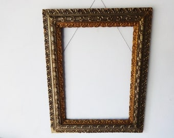 "Vintage Ornate Gold Painted Double Gilded Wooden Picture Frame 29"" x 37"""