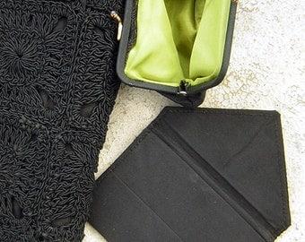 Crocheted Corde Bag Purse 3 Pc Set - Vintage 40s - Jet Black Clutch plus extra goodies