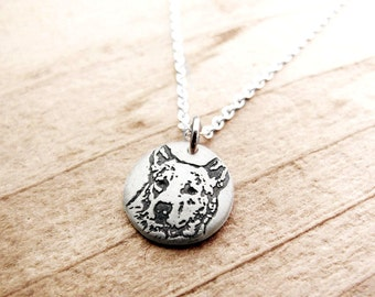 Heeler necklace, Australian Cattle Dog necklace, tiny silver dog necklace, memorial jewelry