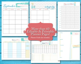 2016 Daily Planner | Life Planner or Personal Planner 60+ pgs | Editable PDFs Instant Download