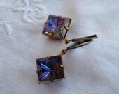 oO HELIOTROPE Oo brass and glass rivoli earrings