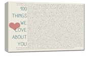 100 Things I love about him or her on canvas, Perfect anniversary or birthday gift 24X36