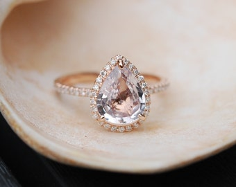 Ice Peach Sapphire Ring Rose Gold Engagement Ring 1.3ct cushion 14k rose gold diamond ring.