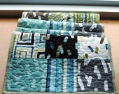 Handmade Quilted Table Runner Brown Green Blue White Geometric