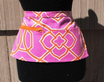 Vendor Apron Server Apron Cash Apron Zipper Apron Hot Pink Orange Geometric Cotton Twill