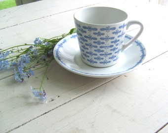 Vintage Arabia Demitasse Cup and Saucer Blue and White Abstract Pattern