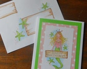 Mermaid Mail Art Greeting Card with Ilustrated Envelope