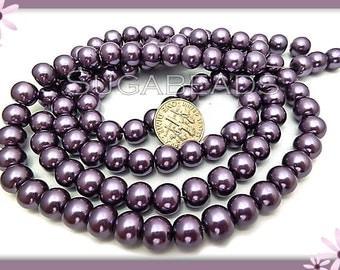 50 Purple Glass Pearl Beads 8mm